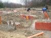 Einschalungsarbeiten für die Bodenplatte